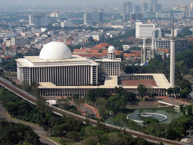 Istiqlal Mosque in Jakarta, Indonesia is the largest mosque in Southeast Asia and the third largest Sunni mosque in term of capacity.
